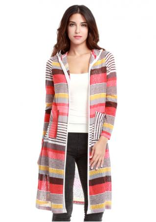 Striped Hooded Long Cardigan