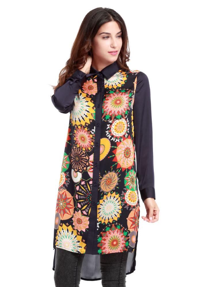 Cămașă lungă de damă, fashion, din poliester, cu imprimeu floral