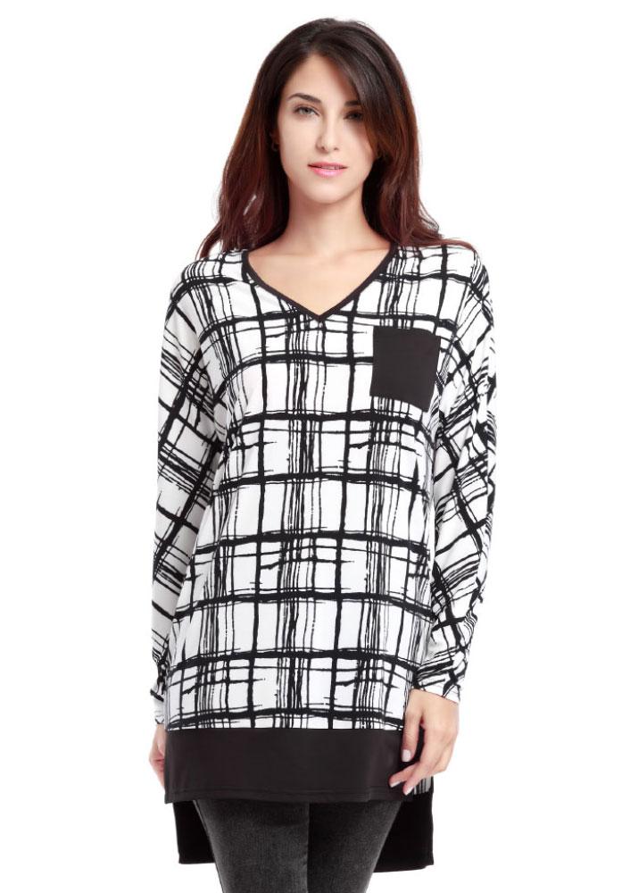 Bluză de damă, asimetrică, casual, din poliester, cu imprimeu