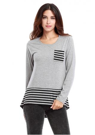 Striped Pocket Long Sleeve Crewneck T-shirt