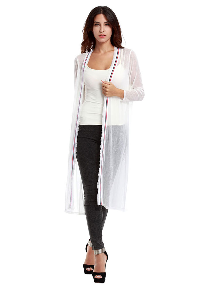 Solid See Through Long Cardigan 10132