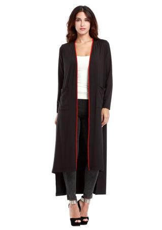 Solid Irregular Long Cardigan