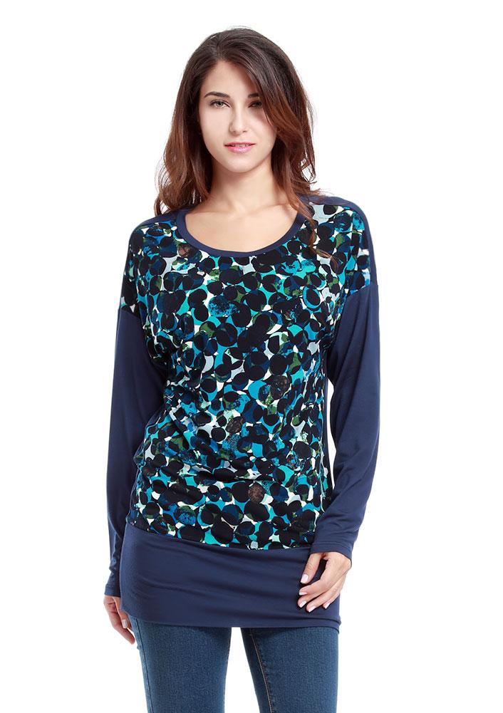 Tricou de damă, fashion, slim fit, din poliester, cu imprimeu și mâneci lungi