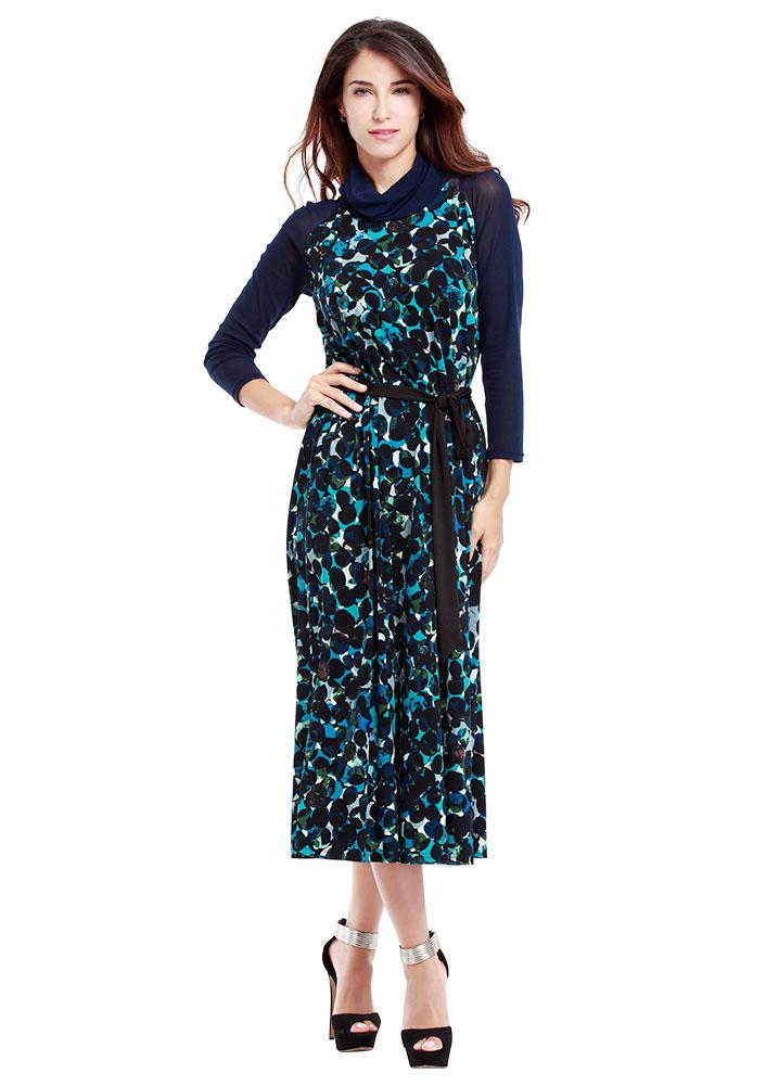 Rochie lungă, elegantă, din poliester, cu imprimeu floral