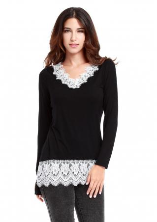 V Neck Lace Long Sleeve T-shirt