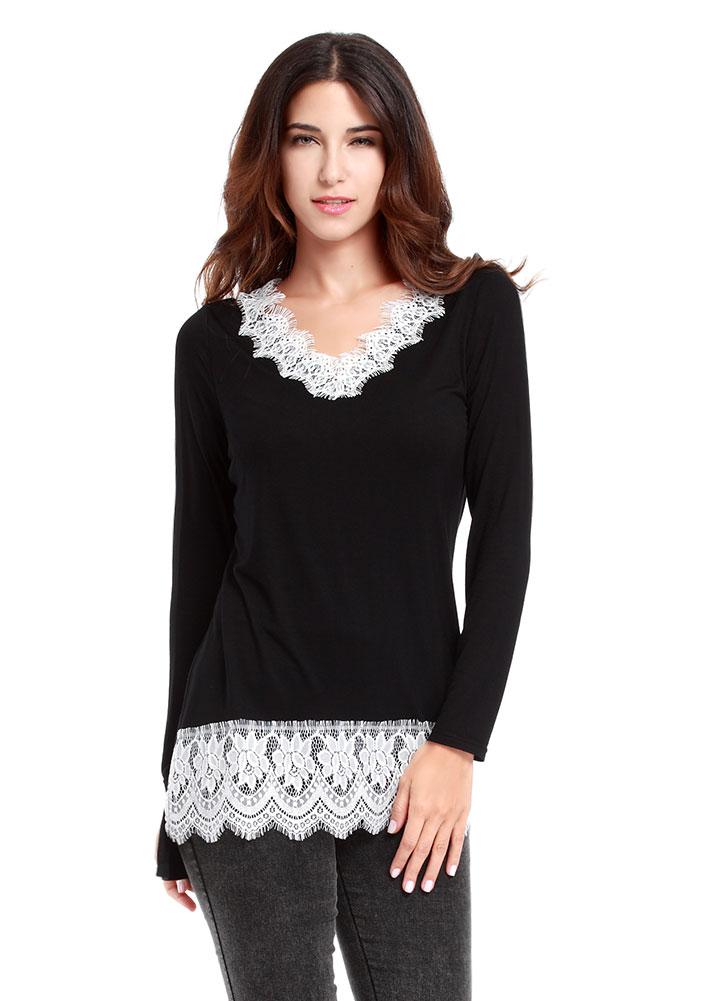 Tricou de damă, fashion, slim fit, cu mâneci lungi și inserții din dantelă