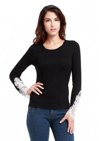 Crewneck Lace Slim Long Sleeve T-shirt Crewneck