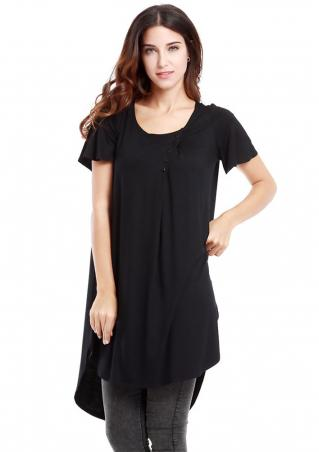 Irregular Crewneck Button Loose Long T-shirt
