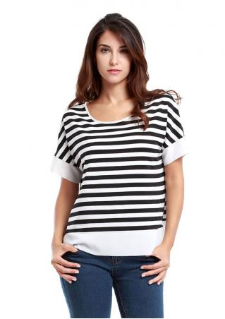 Striped Chiffon Casual Loose T-shirt