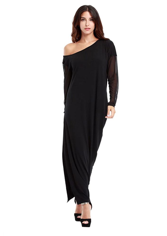 Rochie lungă, asimetrică, din poliester, cu inserții mesh, mâneci lungi și un umăr gol