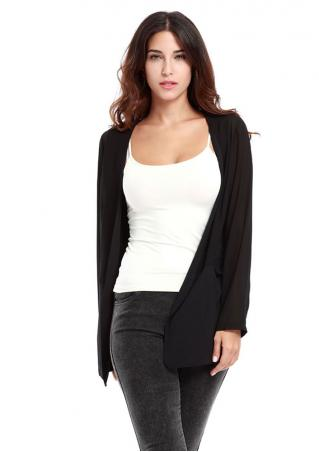 Chiffon Solid Long Sleeve Cardigan