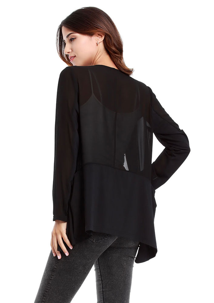 This chiffon cardigan can be worn with jeans and a blouse or over a dress for any occasion. It is a piece that will elevate any look. chiffon with matte jersey accents.