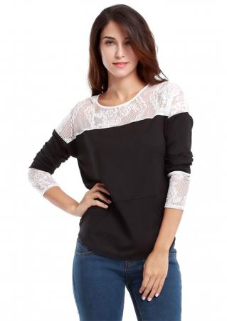 Crewneck Lace Splicing Long Sleeve T-shirt Crewneck
