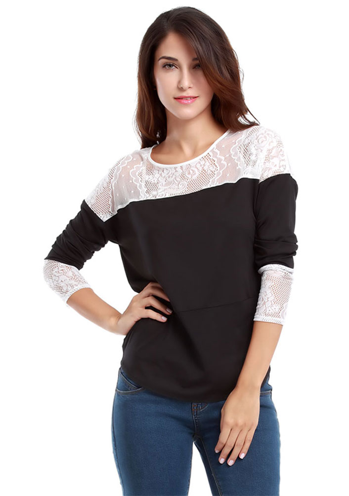 Tricou de damă, fashion, din poliester, cu mâneci lungi și inserții din dantelă