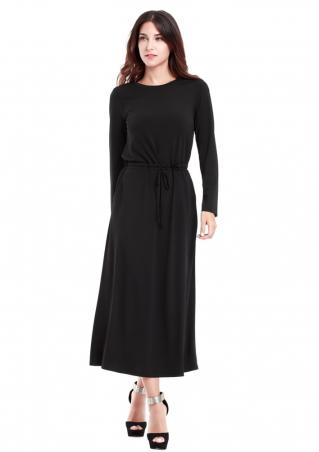 Crewneck Solid Long Sleeve Maxi Dress Crewneck
