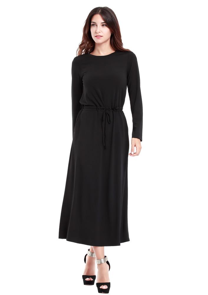 Rochie lungă, elegantă, din poliester, cu mâneci lungi, guler rotund și curea talie