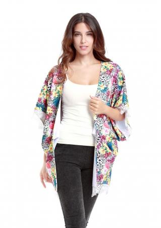 Floral Batwing Lace Casual Cardigan