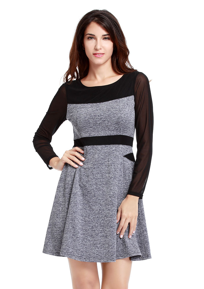 Rochie scurtă, fashion, din poliester, cu mâneci lungi și guler rotund
