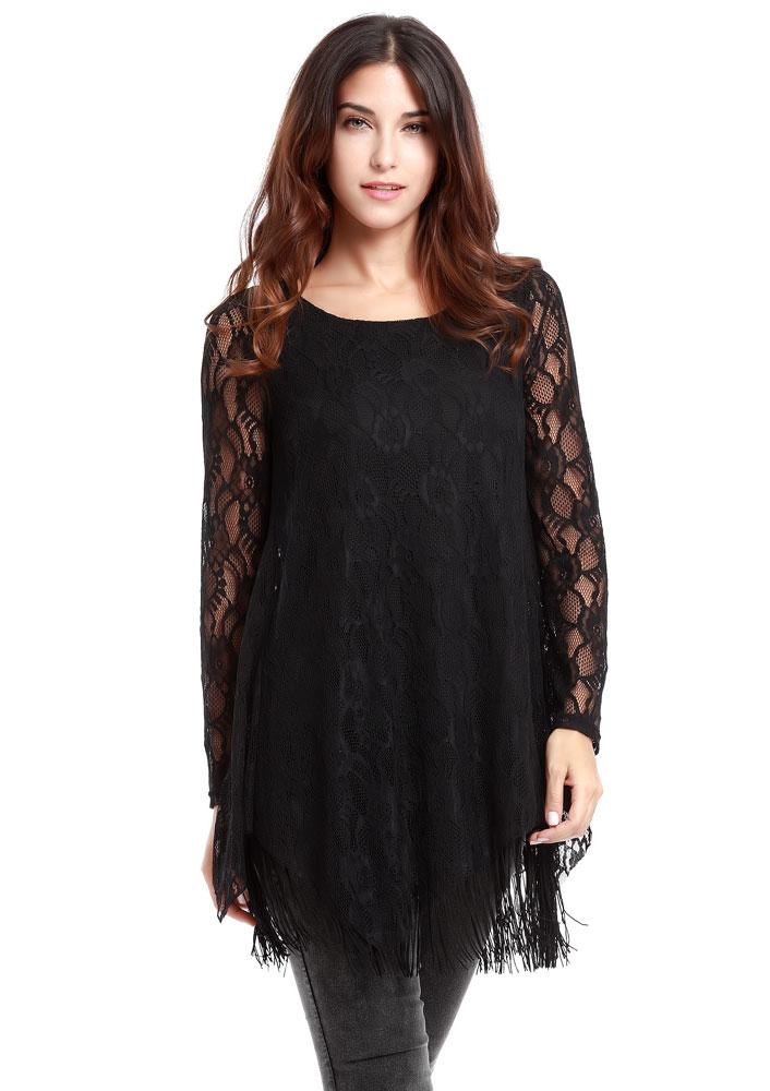 Bluză de damă, fashion, cu mâneci lungi și tiv cu franjuri