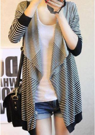 Knitted Striped Irregular Casual Cardigan