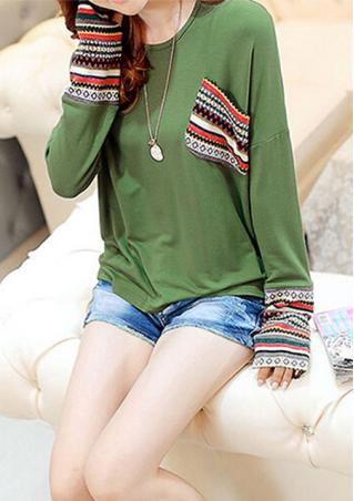 Splicing Long Sleeve Casual T-shirt