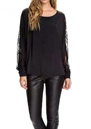 Batwing Lace Long Sleeve Solid Blouse Batwing