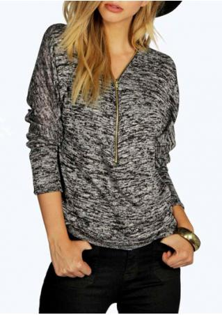 Zipper V-Neck Long Sleeve Casual Sweatshirts