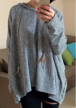 Solid Long Sleeve Loose Casual Hoodie