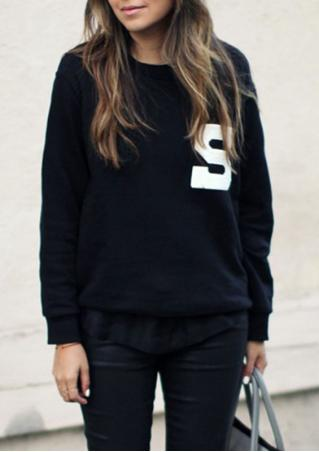 Letter Long Sleeve Crewneck Casual Sweatshirt