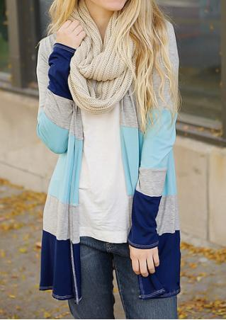 Long Sleeves Splice Cardigan