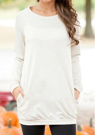 O-Neck Solid Long Sleeve Pocket Casual Sweatshirt