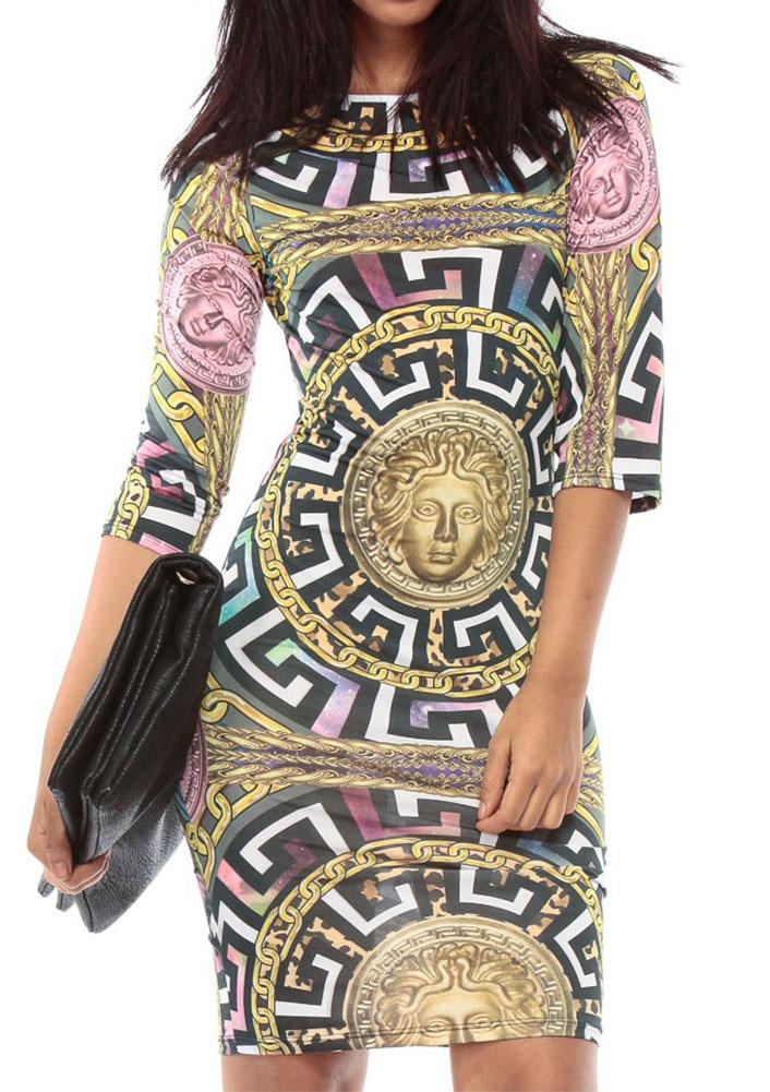 Rochie scurtă, fashion, mulată, cu imprimeu, material din poliester