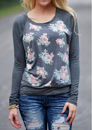 Floral Crewneck Long Sleeve Sweatshirt