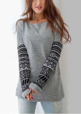 Printed Crewneck Long Sleeve Blouse