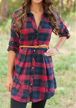 Plaid Turndown Collar Casual Dress Without Belt