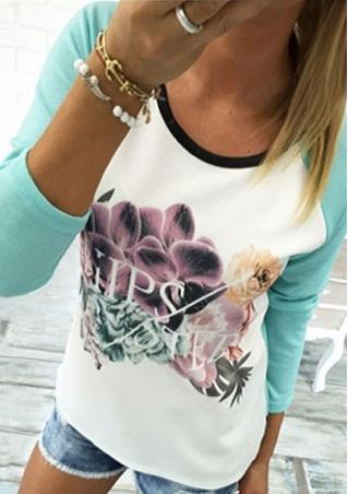 Floral O-Neck Long Sleeve Splicing Casual T-Shirt