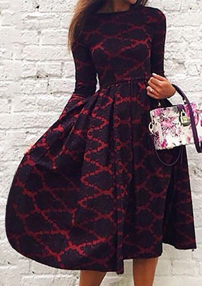 Rochie midi în cloș, elegantă, din poliester, cu mâneci lungi și guler rotund
