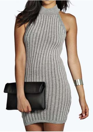 Sleeveless Bodycon Vertical Striped Mini Dress