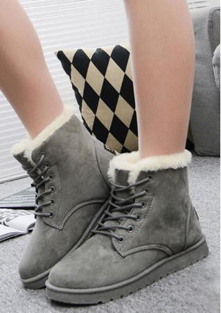 Faux Fur Lace Up Flat Snow Boots