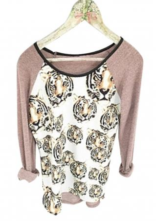 Printed Tiger Heads O-Neck Long Sleeve T-Shirt