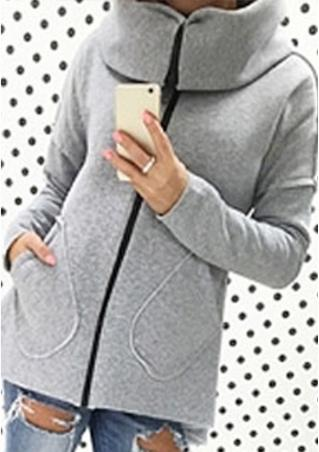 Zipper Solid Long Sleeve Sweatshirt