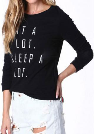Crewneck Letter Printed Long Sleeve Sweatshirt Crewneck