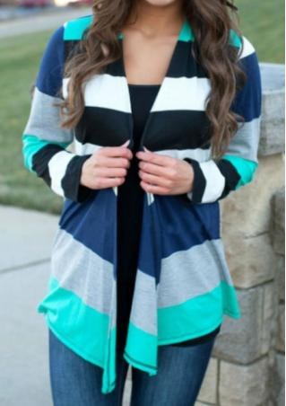 Stripe Splicing Long Sleeve Cardigan
