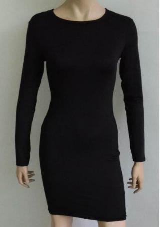 Long Sleeve Crewneck Solid Bodycon Dress