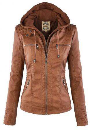 Solid PU Leather Zip Long Sleeve Hooded Jacket Solid