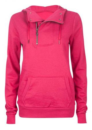 Pocket Casual Solid Color Hoodie