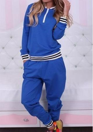 Striped Zipper Casual Sweatshirt Sports Suit