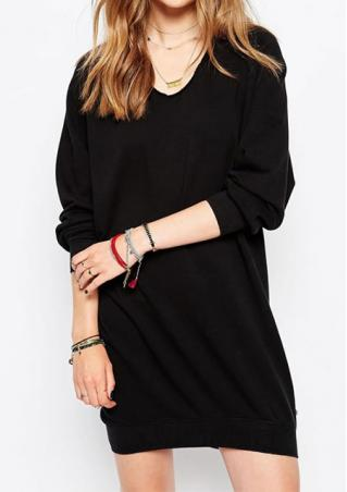 V-Neck Solid Long Sleeve Long Sweatshirt