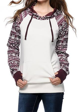 Printed Splicing Hooded Pocket Hoodie