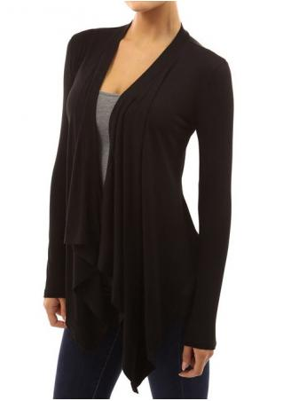 Solid Irregular Long Sleeve Ruffled Cardigan